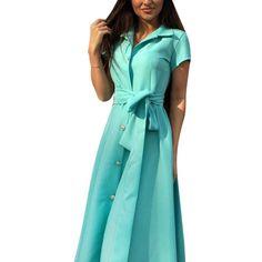 Fashion Women Summer Casual Shirt Dress Party Evening Long Max Dress