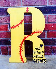 Softball baseball wood letter painted initial wall or door hanger hair bow holder on Etsy, $35.00