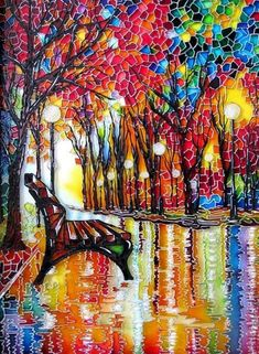 """""""The Bench"""" ~ by St. Petersburg artist Iris ~This stained glass interpretation of the painting by artist Leonid Afremov. The painting is executed with stained glass paints, lacquers and contours using crystal paste Glass Painting Patterns, Glass Painting Designs, Stained Glass Patterns, Paint Designs, Mosaic Art, Mosaic Glass, Glass Art, Sea Glass, Decoupage Vintage"""