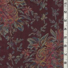 Burgundy Floral Jacquard - Fabric By The Yard At Discount Prices