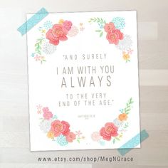 Free Download - I Am With You Always - Scripture, Printable Download