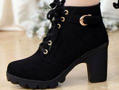 Outono inverno 2014 mulheres novo além de veludo botas curtas saltos grossos selvagens preto fosco feminino coreano OL Martin botas XZ03 em Botas de Sapatos no AliExpress.com | Alibaba Group