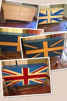 Vintage Refurbished Handpainted Union Jack British Flag