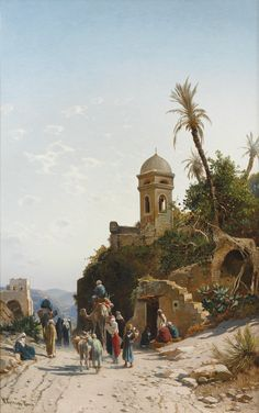HERMANN CORRODI 1844 - 1905 ITALIAN ON THE ROAD TO JERUSALEM signed and inscribed H. Corrodi Roma lower left oil on canvas 102 by 66cm., 40¼ by 26in.