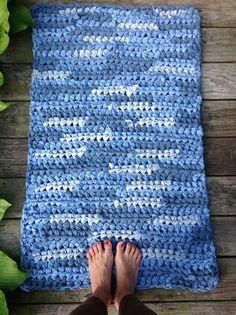 blue crochet rag rug