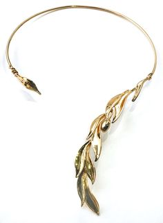 Gold Collar Olive Leaf Necklace, Jewellery made in Italy, Searching for Birthday present gift for your wife, girlfriend? Perfect olive leaf gold necklace, open collar neckpiece will sparkle and bring joy! Leaf Necklace, Collar Necklace, Gold Necklace, Jewelry Art, Jewelry Design, Jewellery, Girlfriend Anniversary Gifts, Gold Collar, Gold Choker