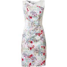 RAXEVSKY AQUARELLE Floral Cotton Dress ($99) ❤ liked on Polyvore featuring dresses, vestidos, short dresses, fitted dresses, floral sleeveless dress, short sleeveless dress and floral mini dress