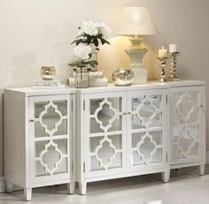 Entryway Table Decor Inspiration - Lydi Out Loud - Gorgeous console table decor! (not completely my style, just admiring the table top staging) - Mirror Buffet, Mirror Tv Stand, Buffet Lamps, Living Room Decor, Bedroom Decor, Entryway Decor, Entryway Mirror, Mirrored Furniture, Mirrored Sideboard
