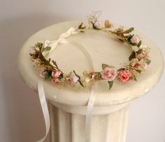 Peach Woodland Bridal bridal party flower crown Spring Wedding hair wreath accessories rustic dried floral garland halo bridesmaid circlet by BudgetWeddingBouquet on Etsy https://www.etsy.com/listing/109835640/peach-woodland-bridal-bridal-party