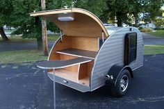 """I wouldn't mind having a teardrop camper. It's just having a more comfortable place to sleep. You can still """"rough it"""" by cooking over a campfire, etc. Small Camper Trailers, Tiny Camper, Small Campers, Cool Campers, Airstream Trailers, Rv Campers, Travel Trailers, Teardrop Trailer Plans, Teardrop Camper Trailer"""