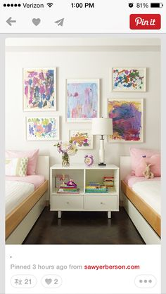 Little girls room - I love the framed paintings!