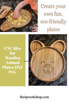 Use these files with your favorite CNC software and CNC machine to make cute, eco-friendly wooden plates for your favorite kid Cnc Machine, Machine Quilting, Animal Plates, Thread Organization, Cnc Software, Thread Holder, Wooden Plates, Wooden Animals, Family Game Night