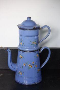 Vintage FRENCH ENAMELWARE/GRANITEWARE COFFEE BIGGIN POT Blue/Floral