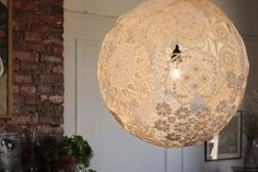 upcycled doily lamp cover