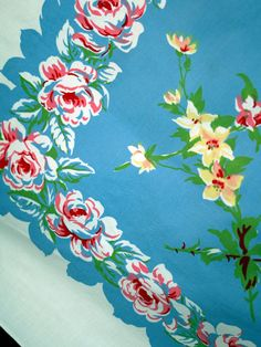 Flowers tablecloth vintage blue green yellow red pink roses