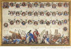 Généalogie des Bourbons avec, dans la partie basse, Louis XIV appuyé sur un écu représentant la Réception de leurs Majestés britanniques (Jacques II et sa famille accueillis à Saint-Germain à la fin de l'année 1688), le Grand Dauphin (il tient une carte avec des vues et un plan de Philisbourg), les petits ducs de Bourgogne, d'Anjou et de Berry (nés respectivement en 1682, 1683 et 1686)