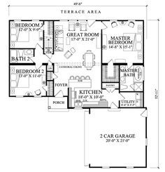 Traditional Style House Plan - 3 Beds 2 Baths 1445 Sq/Ft Plan #137-269 Floor Plan - Main Floor Plan - Houseplans.com