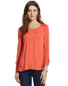 Chico's Leah Lace Back Top #chicos