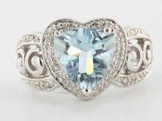 Estate 14 Karat White Gold Diamond Aquamarine Heart Cocktail Ring Fine Jewelry $695