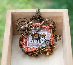 Elephant Pendant Wire Wrap Sri Lanka Vintage by jeanninehandmade