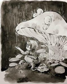 Inktober Day #22 I'm super laaaate Here's yesterday's drawing. A tiny creature caught under the rain. I'll catch up tomorrow hopefully #miniludvin #illustration #inktober #ink #inktober2017 #cute #girl #tinyworld #snail #mushroom #rain #characterdesign