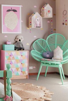 Sweet colour combo for girls room. This could be achieved by upcycling a wicker chair or painting drawers/chair from Ikea. The post Whimsical Childrens Rooms appeared first on Children's Room. Teen Girl Bedrooms, Little Girl Rooms, Ideas Habitaciones, Deco Kids, Baby Bedroom, Bedroom Green, Bedroom Mint, Bedroom Colors, Kid Spaces