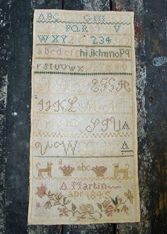 ANTIQUE SAMPLER A MARTIN 1845
