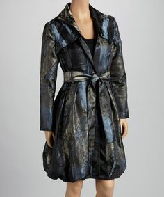 Take a look at this Black & Gray Foliage Trench Coat - Women by Samuel Dong on #zulily today! $50 !!