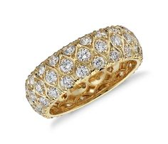 This exceptional diamond eternity ring showcases more than two carats of brilliant round diamonds set in dramatically lustrous yellow gold. Eternity Ring Diamond, Diamond Wedding Rings, Diamond Rings, Diamond Anniversary Bands, Anniversary Rings, 20th Anniversary, Wedding Anniversary, Blue Nile Jewelry, Wide Wedding Bands