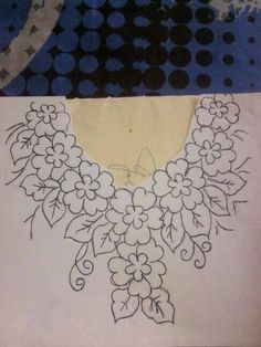 Embroidery Neck Designs, Floral Embroidery Patterns, Mexican Embroidery, Embroidery Works, Hand Embroidery Stitches, Crewel Embroidery, Ribbon Embroidery, Machine Embroidery, Bordado Floral