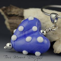 HEART PENDANT Handmade Lampwork Bead sterling silver, blue with white dots by Teri Moore SRA M2 by terimoorelampwork on Etsy