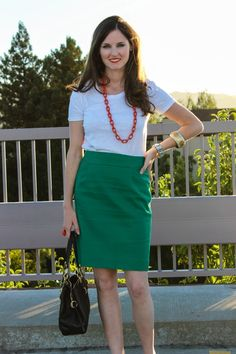 green skirt, white tee, leopard heels
