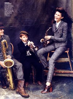 "Isabeli Fontana, her son Zion & her brother Herick Fontana make music in ""Full Tweed Ahead"" for Vogue US, October 2008. Photograph by Arthur Elgort."