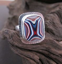 Sterling Silver and Motor Agate Fordite Ring by Urban Relic design.