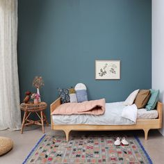 Simplicity is the key to making any space work. Balance your colours to add depth and character. This is one of my favourite looks. Taking our unisex double check blue duvet cover and teams mg it with our peach blossom quilt, olive and teal organic cotton pillowcases you instantly have a more feminine room. Swap the quilt for moss and it looks more masculine. Great to consider if you have shared rooms. #bed #bedding #bedlinen #bedroom #bedroomdecor #kidsroom #kidsdecor #kidsbedroom #...