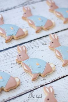 Decorated sugar cookies for a Peter Rabbit-themed baby shower