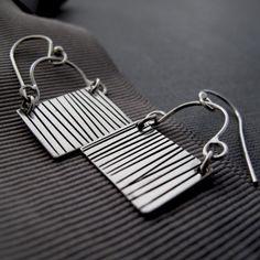 Pinstriped Earrings by NinaGibsonDesigns on Etsy