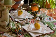 Beautiful, Colorful Table using a Raymond Waites Tablecloth and Napkins from HomeGoods by Pat at BPM ~ Porchgreen16