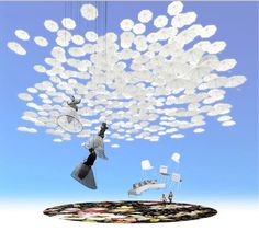 Visitors to Habitare, Finland's furniture and design fair, will see sofas hanging from the ceiling during the September market. Fair Theme, Helsinki, Looking Up, Finland, Wind Chimes, Chandelier, Ceiling Lights, Display, Outdoor Decor