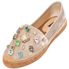 DOLCE & GABBANA 20mm Velvet & Swarovski Espadrilles - Pearl (£445) ❤ liked on Polyvore featuring shoes, sandals, flats, pearl, velvet flats, velvet shoes, flat shoes, flats sandals and espadrille sandals