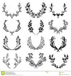 vintage-set-hand-drawn-rustic-laurels-floral-vector-graphic-blackboard-nature-design-elements-54206717.jpg (1300×1390)