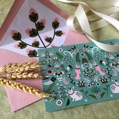 Happy easter card by Fanfare Paper Goods.  Illustration, Pattern, Greeting card, custom invitation, stationery. Einladungen, Grußkarten, Kartendesign, Papeterie.