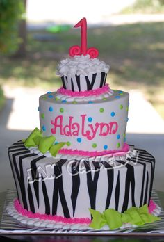 zebra topsy turvy cake - thinking 18th bday cake would be fun too in tiffany blue.