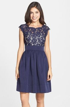 Free shipping and returns on Eliza J Lace & Faille Dress at Nordstrom.com. A gauzy illusion yoke and short cap sleeves update a lovely Eliza J bestseller—a swingy fit-and-flare dress pairing floral lace and woven-faille fabric.