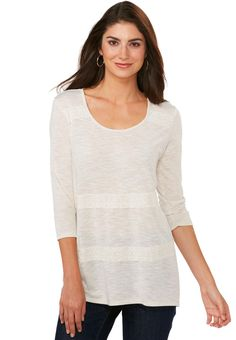 0b4b6990b014e Striped Lace Tunic Top in Oatmeal Tees   Knit Tops Cato Fashions Stitch  Fit