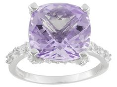 6.50ct Square Cushion Checkerboard Cut Amethyst With .08ctw Round White Topaz Sterling Silver Ring