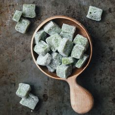 This recipe for mochi—a sweet Japanese rice cake—gets a pretty green color from green tea powder.