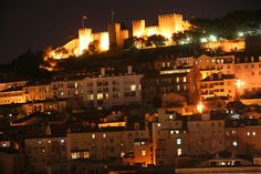 Castelo São Jorge, Lisbon New York Skyline, Portugal, Travel, Saint George, Castle, Lisbon, Night, City, Viajes