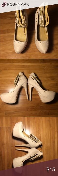 Just Fab Platform Stilettos Just Fab size 8 beige faux suede closed toe high heels with a hidden platform stilettos with thin gold chains along the  ankle straps with matching gold circle studs. Gently used with some marks. Need to be cleaned. JustFab Shoes Heels