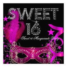 Pink Black Sweet 16 Masquerade Party Personalized Invite invitations Birthday invitations by zizzago.com